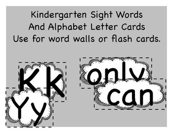 Kindergarten Sight Words And Alphabet Letter Cards (Word Wall)