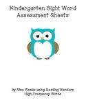 Kindergarten Sight Words Assessment Sheets
