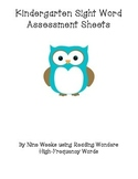 Kindergarten Sight Words Assessment Sheets