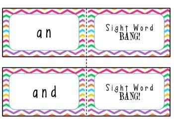 Kindergarten Sight Words BANG! Cards