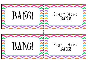 Kindergarten Sight Words BANG! Cards