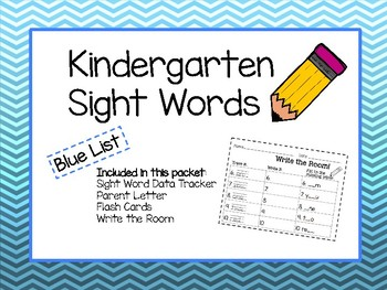Kindergarten Sight Words- BLUE list