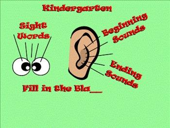 Kindergarten Sight Words, Beginning, and Ending Sounds SmartBoard Activities