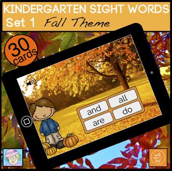 Fall Sight Words BOOM CARDS Reading Kindergarten Sight Words Set 1