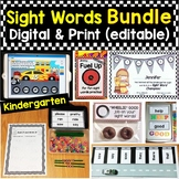 Kindergarten Sight Words Bundle Editable Printable Pages &