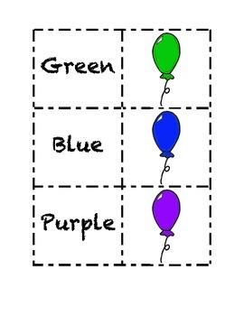 Kindergarten Sight Words Color Word Match Cards