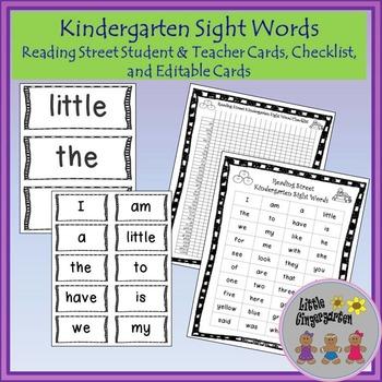 Kindergarten Sight Words Common Core Reading Street