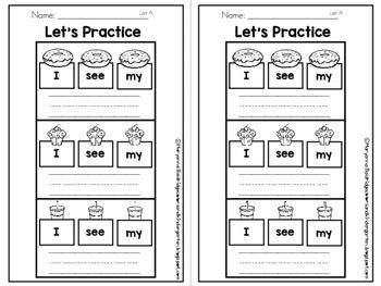 Kindergarten Sight Words Core Word Centers