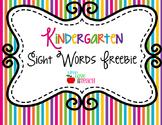 Kindergarten Sight Words FREEBIE Summer Pop Collection