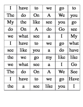 Kindergarten Sight Words Find-a-Word