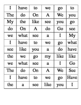 Kindergarten Sight Words Find-a-Word