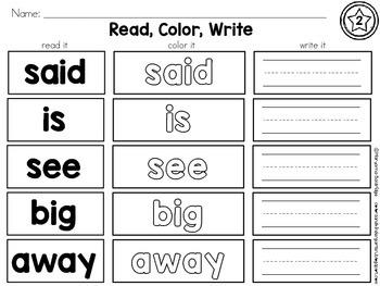 Kindergarten Sight Words First 40 Words