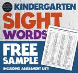 Kindergarten Sight Words Flip Book Wall Cards Assessment Award - FREE Sample