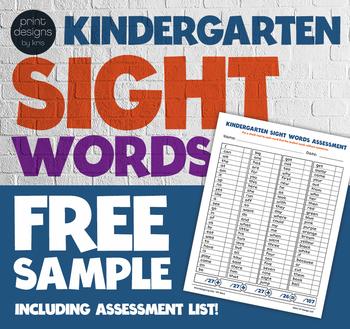 Kindergarten Sight Words Flip Book Wall Cards Assessment A