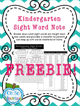 Kindergarten Sight Words Folder Note + Checklist