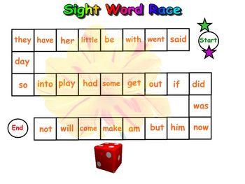 Kindergarten Sight Words For the SmartBoard
