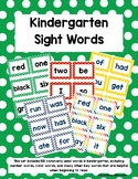 Kindergarten Sight Words - Green Polka Dots