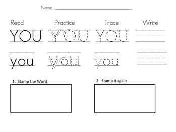Kindergarten Sight Word Stamping