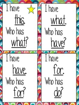 "Kindergarten Sight Words ""I Have, Who Has"" Game"