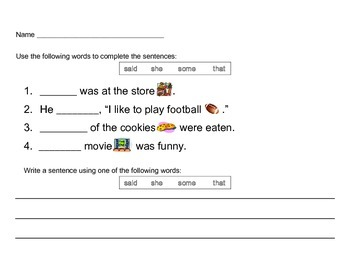 Kindergarten Sight Words II Worksheets