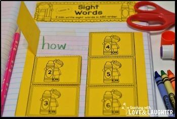 Kindergarten Sight Words Interactive Notebook Activities
