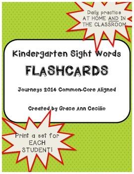 Kindergarten Sight Words - Journeys FLASHCARDS