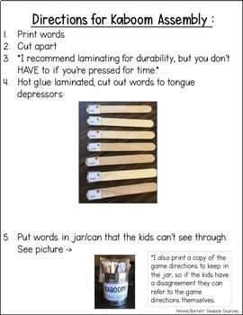 Kindergarten Sight Words KABOOM Game