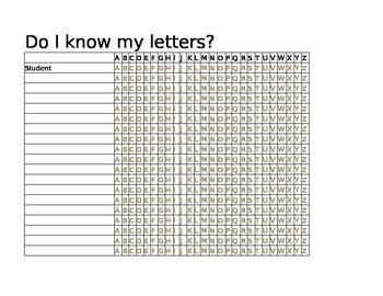 Kindergarten Sight Words, Letters, & Numbers Progress Spreadsheet