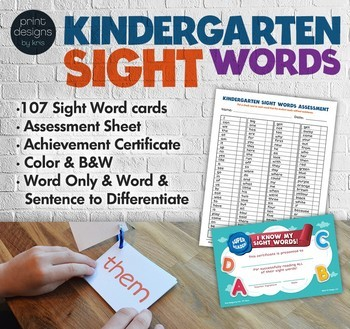 Kindergarten Sight Words • My First Word Problems BUNDLE • Common Core