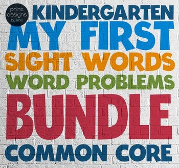 Kindergarten Sight Words • My First Word Problems BUNDLE •