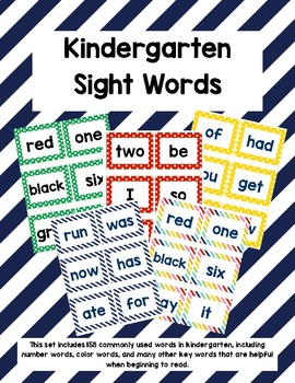 Kindergarten Sight Words - Navy Stripes