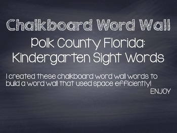 Kindergarten Sight Words: Polk County Florida