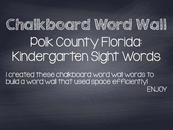 Kindergarten Sight Words: Polk County Florida