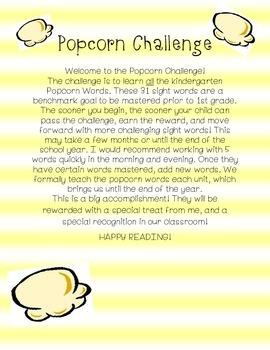 Kindergarten Sight Words Popcorn Challenge