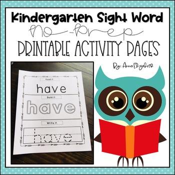 NO PREP Kindergarten Sight Word Activity