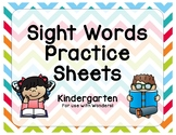 Kindergarten Sight Words Practice Sheets - Reading Wonders!