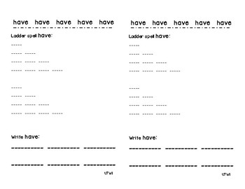Kindergarten Sight Words Practice Sheets - Reading Wonders! Freebie!