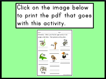 Kindergarten Sight Words Promethean Flipchart Lesson