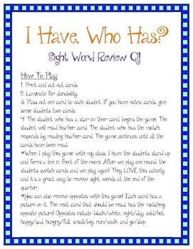 Kindergarten Sight Words Review Q1 - I Have, Who Has?