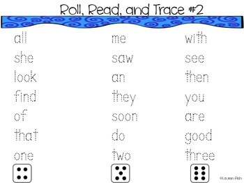 Kindergarten Sight Words Roll and Trace