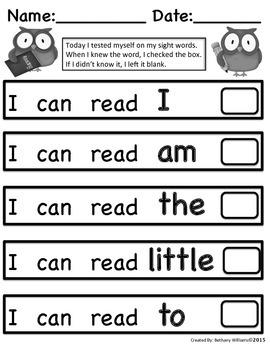 Kindergarten Sight Words Self-Assessment