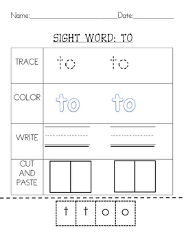 Kindergarten Sight Words Set 1:2 letter words by Mrs Loves Learning Emporium