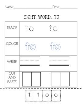 Kindergarten Sight Words Set 1:2 letter words by Mrs Loves Learning Emporium