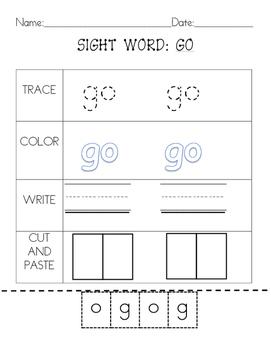 Kindergarten Sight Words Set 1:2 letter words