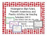 Kindergarten Sight Words, Sounds, Phonics Activities (Unit