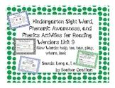 Kindergarten Sight Words, Sounds, Phonics Activities (Unit 9 Reading Wonders)