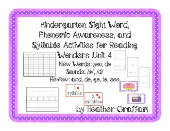 Kindergarten Sight Words, Sounds, Syllable Activities (Unit 4 Reading Wonders)