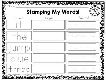 Kindergarten Sight Words Stamp It!