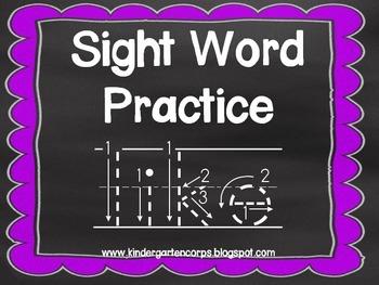 Kindergarten Sight Words: Tracing Penmanship Cards