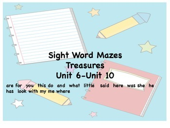 Kindergarten Sight Words Treasures 6-10